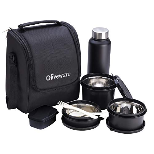 Oliveware Teso Lunch Box with Bottle - Black   3 Stainless Steel Containers and Pickle Box and Assorted Steel Bottle…