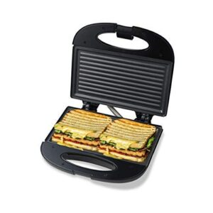 Pheebs 800-Watt Sandwich Maker With Cool Touch Handle And Lid Lock, Silver And Black