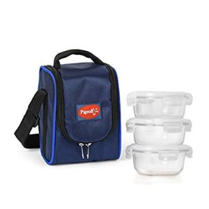 Pigeon by Stovekraft Therma Fresh 3 Piece High Borosilicate Round Glass Lunch Box – Blue