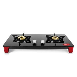 Pigeon Infinity Gas Cooktop with Glass Top and Stainless Steel body 2 Burner Gas Stove, Manual Ignition, Black