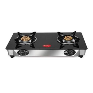 Pigeon by Stovekraft Favourite Glass Top 2 Burner Gas Stove, Manual Ignition, Black