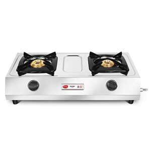Pigeon by Stovekraft Favourite Maxima Stainless Steel 2 Burner Gas Stove, Manual Ignition, Silver, standard (12312)
