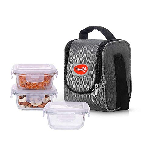 Pigeon By stovekraft Therma Fresh Borosilicate Glass 3 Piece Square Lunch Box for Office, Grey