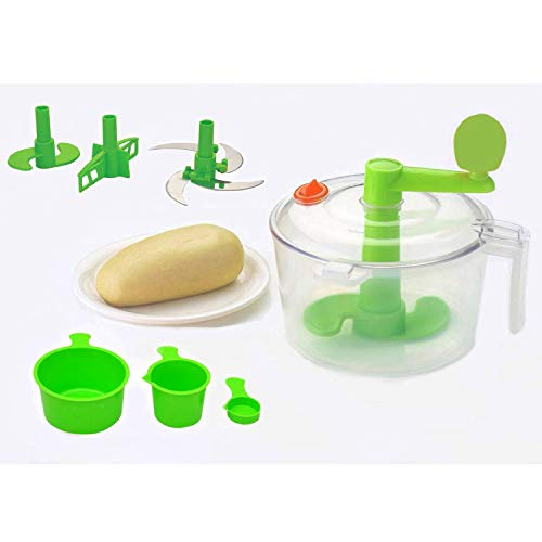 Primelife Plastic Atta Dough Maker with Beater, Chop & Churn 3 in 1 for Kitchen - Made in India (Multicolor)