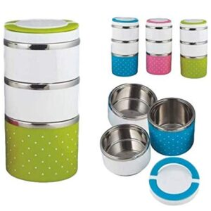 ROY ENTERPRISE Stainless Steel 3 Layer Lunch Box Picnic Food Container Tiffin Hot Box Vacuum Insulated with Handle…