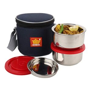 Rident Kitchen Insulated Sleek & Premium Junior Lunch Box Bag with 2 Stainless Steel Double Wall Containers - 600 ml…