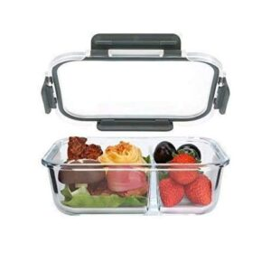 SVS ONLINE 2 Compartment Rectangular Glass Storage Bowl Set with Plastic Clamp Meal Prep Airtight Storage Serving Food…