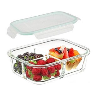 Shopeum 3 Compartment Rectangular Storage Glass Lunch Box with Leak Proof Airtight lid Meal Prep Serving Bowl Food…
