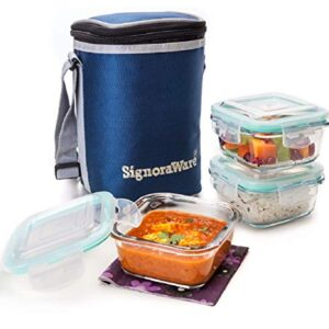 Signoraware Director High Borosilicate Bakeware Safe Glass Lunch Box Set with Bag, 320ml+320ml+320ml, 3-Pieces…