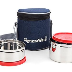 Signoraware Executive Stainless Steel Lunch Box Set, Set of 2, Red