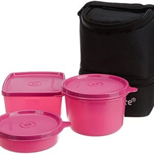 Signoraware Trio Plastic Lunch Box with Insulated Bag Set, 3-Pieces, Blue