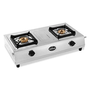 Sunflame EXCEL COOK 2B Stainless Steel 2 Burner Gas Stove (Manual Ignition, Silver)