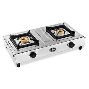 Sunflame SMART 2B - Stainless Steel 2 Burner Gas Stove (Manual Ignition, 2 Brass Burners, Silver)