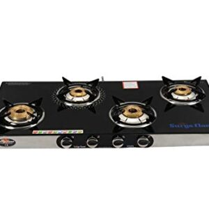 Surya Flame 4B Monarch Glass Top and Stainless Steel Body Manual Ignition LPG Gas Stove Cooktop with 4 Brass Burners and…