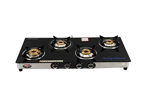 Surya Flame 4B Monarch Glass Top and Stainless Steel Body Auto Ignition LPG Gas Stove Cooktop with 4 Brass Burners and 2…