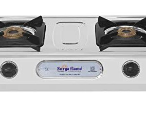 Suryaflame Gas Stove 2 Burners Stainless Steel 2B Capri (BB) SS NA (ISI Marked, CE Certified) with Doorstep Service…