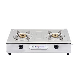 SURYA FLAME 2 Burner Ultimate SS Auto Ignition Gas Stove ( ISI & CE Certified) with Doorstep Warranty – Silver…