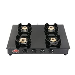 Suryaflame Gas Stove 4 Burners Glass Top 4B Black Beauty MS NA (ISI Marked, CE Certified) and Doorstep Service - Black