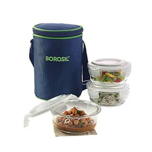 Transparent Home Kitchen Borosil Klip N Store Microwavable Containers, 400 ml, Set of 3 with Lunch Bag