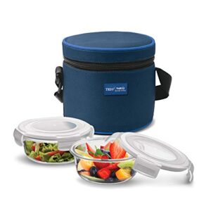Treo by Milton Health First Round Container Glass Tiffin,380 ml, 2 Pieces,Transparent