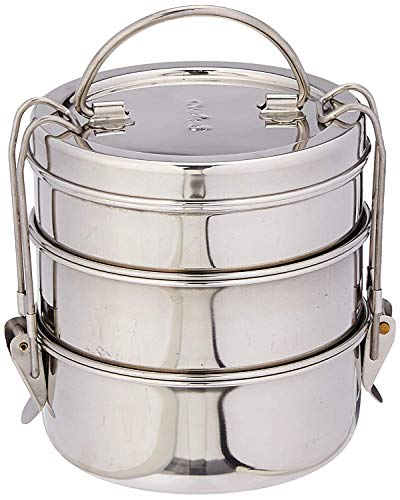 Waheguru Stainless Steel Insulated Lunch Box with Lid, Metal Lunch Box Compartment for Men Steel Lunch Container 3 Tier…