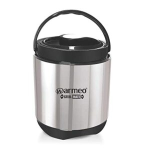 Warmeo Hot Star Stainless Steel Insulated Lunch Box, Capacity 400ml Each Container, Set of 4, Colour Black and Silver