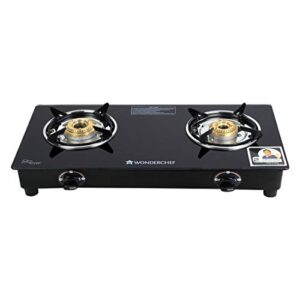 Wonderchef Power 2 Burner Toughened Glass MS Cooktop Gas Stove, Stainless Steel Drip Tray, Tri-pin, Anti-Skid Legs…