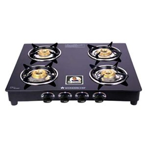 Wonderchef Power 4 Burner Toughened Glass MS Cooktop Gas Stove, Stainless Steel Drip Tray, Tri-pin, Anti-Skid Legs…