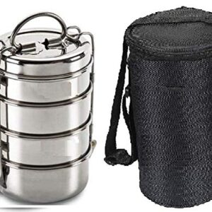 futensils Stainless Steel Clip Carrier Lunch Box, 4 Containers,with Black Bag 1540 ml; Size 6 x 4(4'inch)