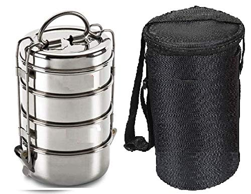 Manav Stainless Steel Tiffin Box Size -6x4, 4-Tier- Lunch Box with Bag, Capacity-(1540ml), Dia-(10.2Cm),Weight…