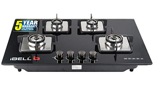 iBELL 555GH Hob Toughened Glass 4 Burner Top Gas Stove with Auto Ignition, Black