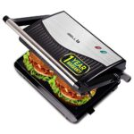 iBELL Hold The World Digitally! SM515 750 Watt Panini Grill Sandwich Maker with Floating Hinges, Black