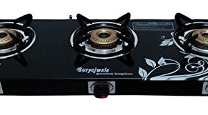 suryajwala Auto Ignition Toughened Glass Cast Iron 3 Burner Gas Stove (LPG Compatible Only)Ignition, Black